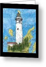S Manitou Island Lighthouse Mi Nautical Chart Map Art Greeting Card