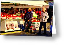 Sacks Of Potatoes Red Pepper Pots Tomato Baskets Marche Jean Talon Montreal Scenes Carole Spandau Greeting Card
