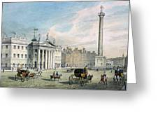 Sackville Street, Dublin, Showing The Post Office And Nelsons Column Greeting Card