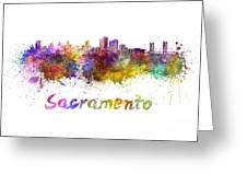 Sacramento Skyline In Watercolor Greeting Card