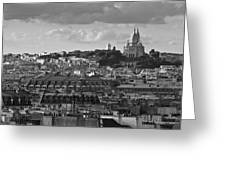 Sacre Coeur Over Rooftops Black And White Version Greeting Card