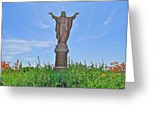 Sacred Heart Of Jesus Sculpture In Saint Laurent On Ile D'orleans-qc Greeting Card