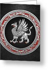 Sacred Silver Griffin On Black Leather Greeting Card