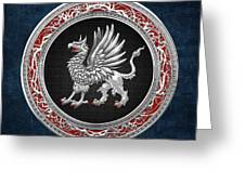 Sacred Silver Griffin On Blue Leather Greeting Card