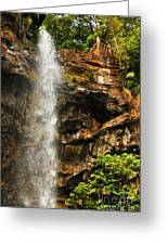 Sacred Waterfall Of Tropical Forest Greeting Card