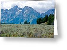 Sagebrush Flatland And Teton Peaks Near Jenny Lake In Grand Teton National Park-wyoming- Greeting Card