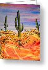 Saguaro Cactus Desert Landscape Greeting Card by M C Sturman