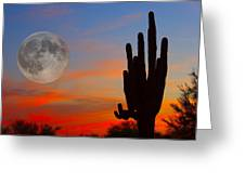Saguaro Full Moon Sunset Greeting Card