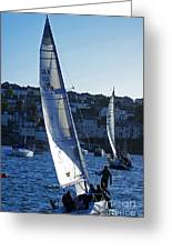 sail boat Penryn river Spring 2010 six Greeting Card