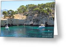 Sail Boats At Calanque De Port Miou Greeting Card