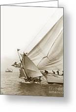 Sail Boats Little Anne And Virginia Collision On San Francisco Bay Circa 1886 Greeting Card