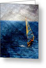 Sailboarding W Metal Greeting Card