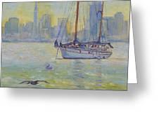 Sailboat Anchored At Sunset Greeting Card