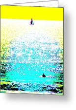 Sailboat And Swimmer -- 2c Greeting Card by Brian D Meredith