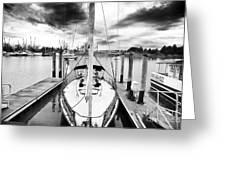 Sailboat Docked Greeting Card by John Rizzuto