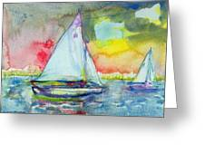 Sailboat Evening Wc On Paper Greeting Card