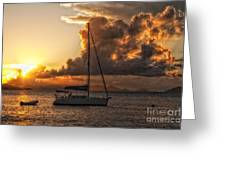 Sailboat In Sunset Greeting Card
