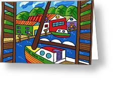 Sailboat In The Window Greeting Card