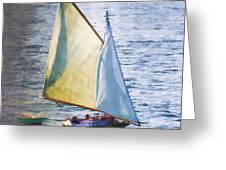 Sailboat Off Marthas Vineyard Massachusetts Greeting Card
