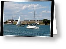 Sailboat On Lake Ontario Near Old Fort Niagara 2 Greeting Card
