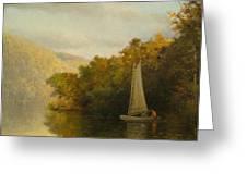 Sailboat On River Greeting Card