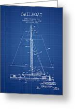 Sailboat Patent From 1932 - Blueprint Greeting Card
