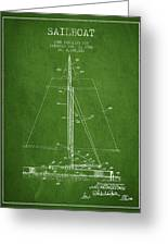 Sailboat Patent From 1932 - Green Greeting Card