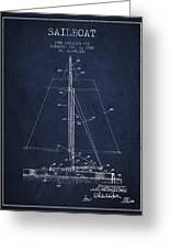 Sailboat Patent From 1932 - Navy Blue Greeting Card