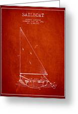 Sailboat Patent From 1991- Red Greeting Card