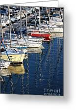 Sailboat Reflections Greeting Card by John Rizzuto