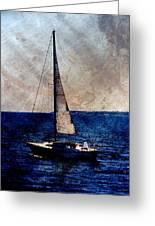 Sailboat Slow W Metal Greeting Card