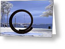 Sailboat Through Omphalos Sculpture Near Infrared Greeting Card