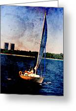 Sailboat Tilted Towers W Metal Greeting Card