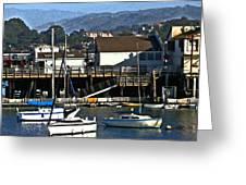 Sailboats Anchored At Mooring Greeting Card