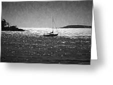 Sailboat And Islands In Maine Greeting Card