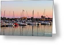 Sailboats At Sunset Greeting Card