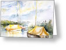 Sailboats Awakening Greeting Card