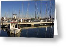 Sailboats In Badalona Marina Greeting Card