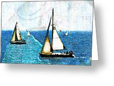 Sailboats In The Harbor Greeting Card