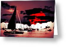 Sailboats In The Marina Surreal 2 Greeting Card