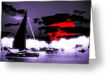 Sailboats In The Marina Surreal 3 Greeting Card