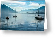 Sailboats On Como Greeting Card