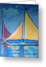 Sailboats With Red And Yellow Sails Greeting Card