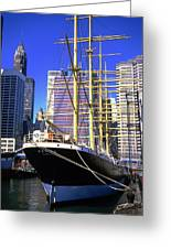 Sailing Boat Anchored In South Street Seaport 1984 Greeting Card