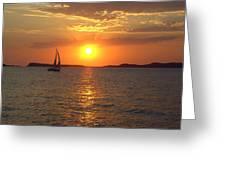 Sailing Boat In Ibiza Sunset Greeting Card
