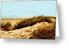 Sailing By Sand Dune Greeting Card