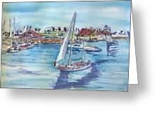 Sailing By Shoreline Village Greeting Card