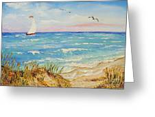 Sailing By The Beach Greeting Card