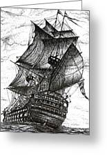 Sailing Drawing Pen And Ink In Black And White Greeting Card by Mario Perez