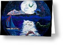Sailing In The Moonlight Greeting Card
